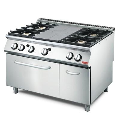 Cocina gas Gastro-M placa 4 quemadores y horno GN 2/1 70/120 TPPCFG2 gl936