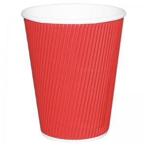 Vaso desechable bebidas calientes Fiesta ondulado rojo 227ml Tira 25. 25 ud. gp424
