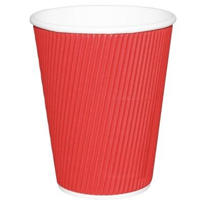 Vaso desechable bebidas calientes Fiesta ondulado rojo 341ml Caja 500. 500 ud. gp428
