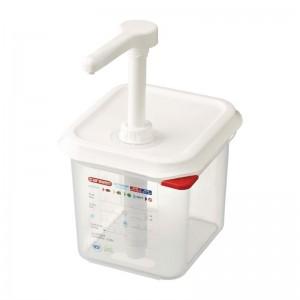 Dispensador de salsa Araven GN 1/6 traslucido 2.6Ltr cr820