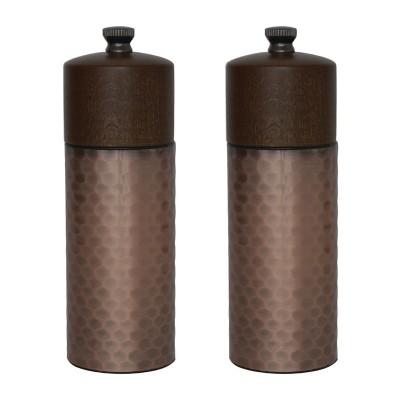 Juego 2 molinillos Olympia cobre y madera 150(Al)mm. 2 ud. cr689