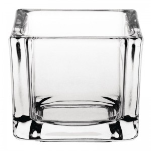 Portavelas pequeño Olympia cuadrado cristal. 6 ud. gm224