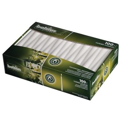 Velas estrechas blanco 254mm Bolsius. 100 ud. p960