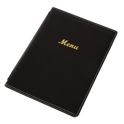 Porta-menus de cuero sintetico Negro A4 e221