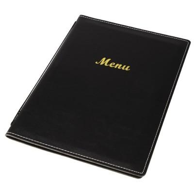 Porta-menus de cuero sintetico Negro A5 e223