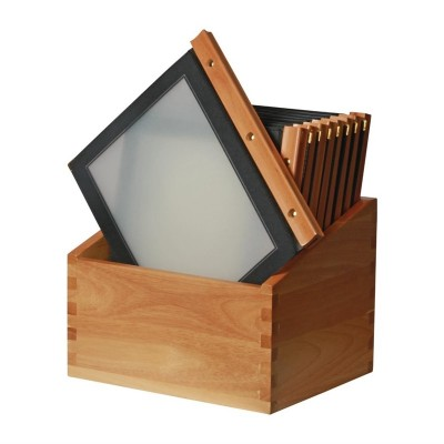 Porta-menus de madera Negro Securit. 20 ud. h759
