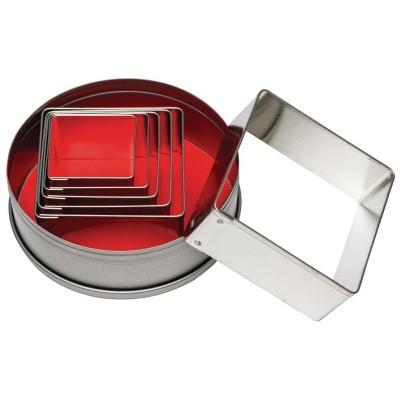 Juego de cortadores de pasteleria cuadrados lisos Vogue. 6 ud. e017