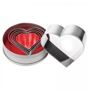 Juego de cortadores de pasteleria en forma de corazon Vogue. 6 ud. e025
