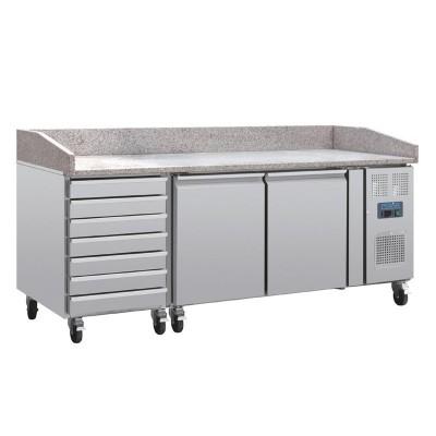 Mostrador pizza Polar mesa marmol 2 puertas cajones compresor lateral ct423