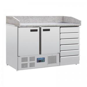 Mostrador pizza Polar mesa marmol 2 puertas y cajones compresor inferior ct425