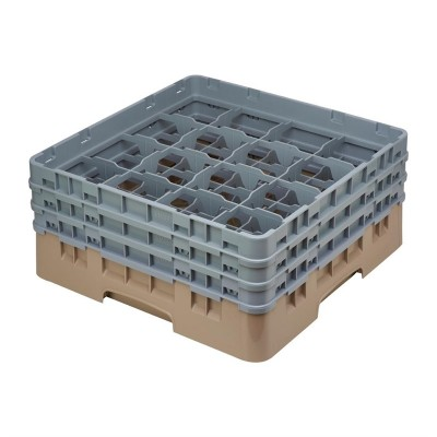 Cesta cristaleria Cambro Camrack beige 16 compartimentos vasos hasta 174(Al)mm de783