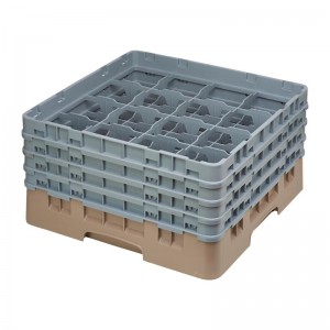 Cesta cristaleria Cambro Camrack beige 16 compartimentos vasos hasta 215(Al)mm de784
