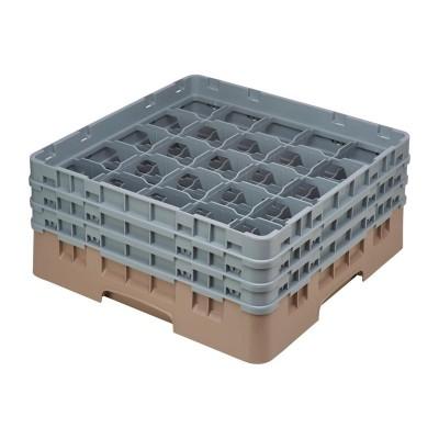 Estante Cambro Cam Beige con 25 compartimentos para vasos de cristal de un maximo de 174mm de789