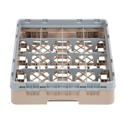 Bandeja cristaleria Cambro Cam de 16 compartimentos beige-Maxima altura de 92mm dw550