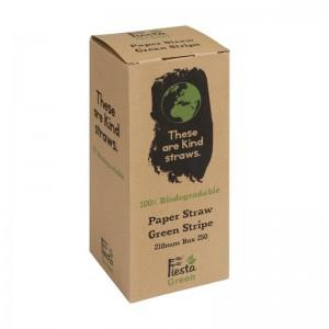 Canutillo de papel Fiesta Green color verde y blanco a rayas– 6mm (Caja 250). 250 ud. de928