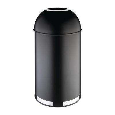 Papelera bala de acero Bolero con tapa abierta (Negra)- 40Ltr cw954