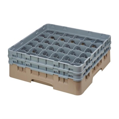Cesta cristaleria Cambro Camrack beige 36 compartimentos vasos hasta 133(Al)mm de794