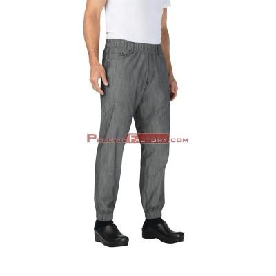 Pantalon para chef Cherfworks Urban 257 negro/blanco de raya fina Talla M bb300-m