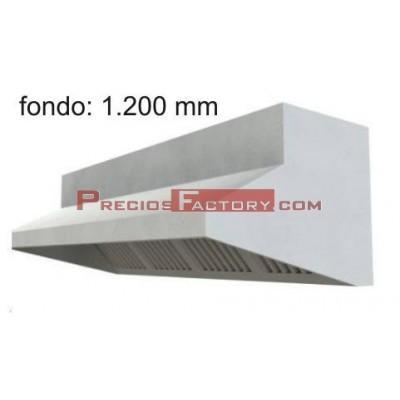 Campana extracción mural con plenum. Fondo 1.200 mm
