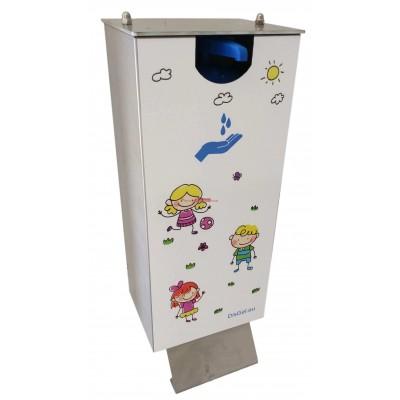 Dispensador gel hidroalcohólico especial niños. Accionamiento con pie.