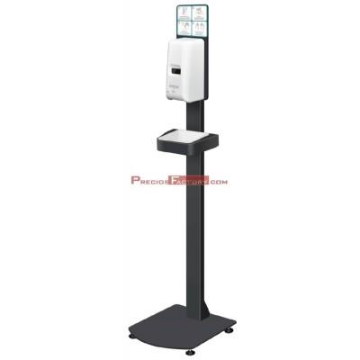 Dispensador de gel en color blanco compuesto por pie y bandeja antigoteo de color negro. + 5 LITROS GEL GRATIS