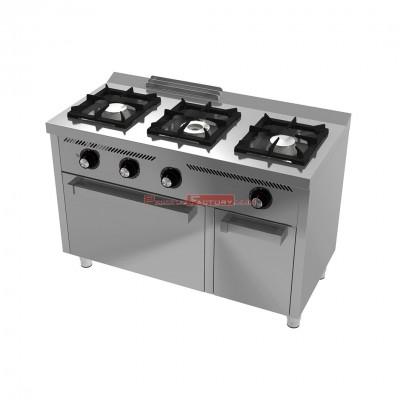 Cocina a gas HR 3 fuegos y horno serie 600
