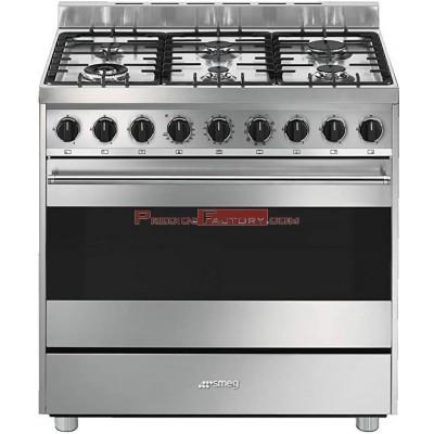 Cocina a gas SMEG 6 fuegos con horno multifunción