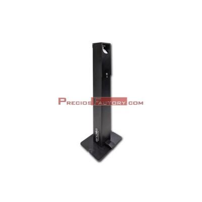 Dispensador de gel hidroalcohólico negro. Accionado con pedal