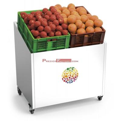 Expositor de frutas y verduras inoxidable con ruedas