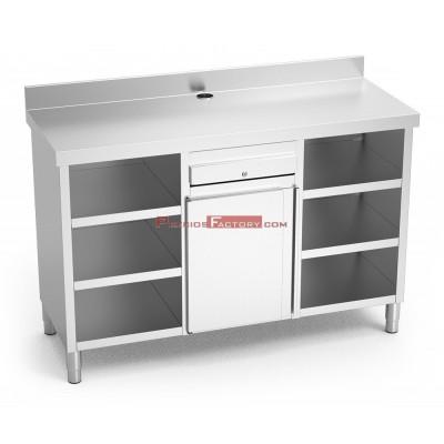 Mueble cafetero inox doble 157x60 cm
