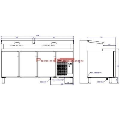 Mesa de preparación de ensaladas y pizzas. MPGE2-180-I HC 1/3 GN