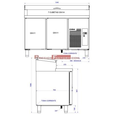 Mesa de preparación de ensaladas y pizzas. MPGE2-135-I HC 1/4 GN