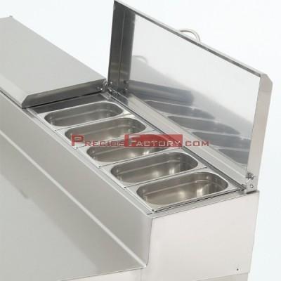 Mesa de preparación de ensaladas y pizzas. MPGE2-180-I HC 1/4 GN