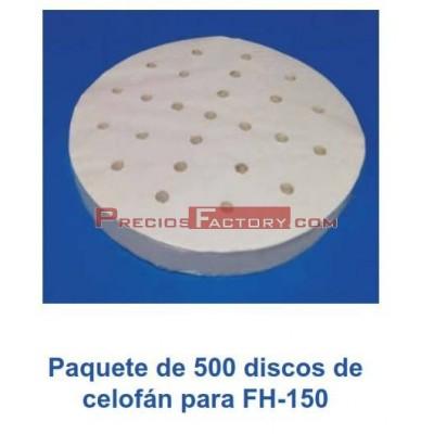 Paquete 500 discos celofán para hamburgesera