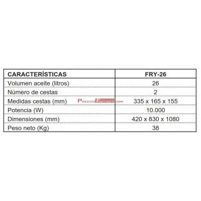 FREIDORA ELECTRICA 26 litros