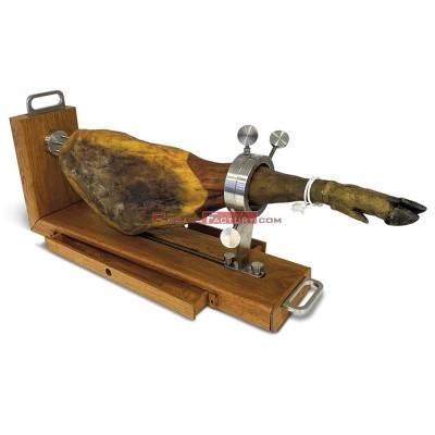 Jamonero cecinero en acero inoxidable y madera corte horizontal o vertical