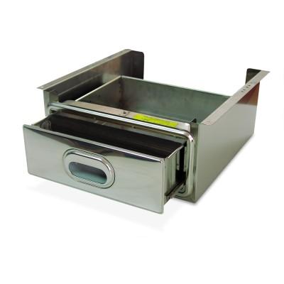 Caj¢n inox con accesorio caf' acoplado a estanter¡a inox de ancho 500 mm