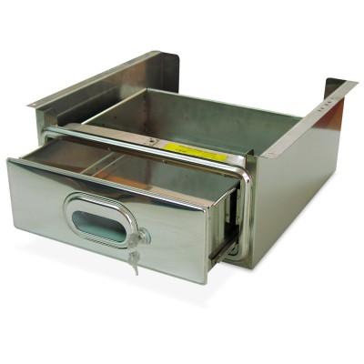 Caj¢n inox con cerradura acoplado a estanter¡a inox de ancho 500 mm