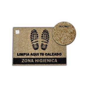 """Alfombra (felpudo) higiénica de color marrón con impresión """"limpia aquí tu calzado"""" con base antideslizante"""