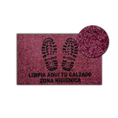 """Alfombra (felpudo) higiénica de color burdeos con impresión """"limpia"""" con base antideslizante"""