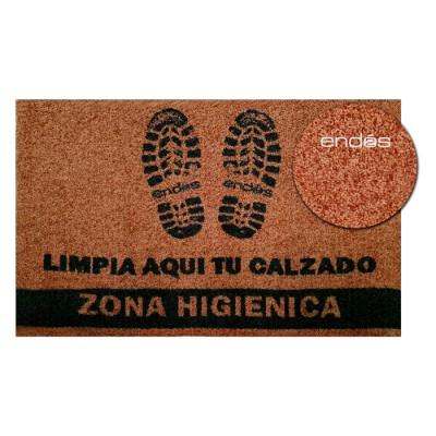 """Alfombra (felpudo) higiénica de color marrón con impresión """"limpia aquí tu calzado"""" con base de caucho antideslizante"""