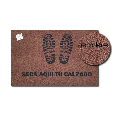 "Alfombra (felpudo) higiénica de color marrón con impresión ""seca aquí tu calzado"" con base antideslizante"