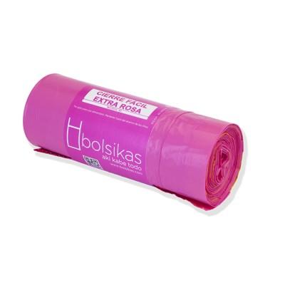 Bolsa de basura 60x60 rosa hogar con sistema cierre fácil, galga 130
