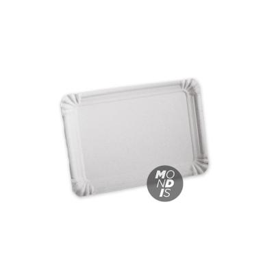 Bandeja cartón de 16 x 22 cm de color blanco especial para blondas rectangulares