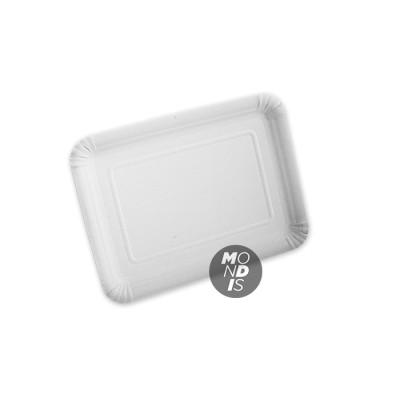 Bandeja cartón de 22 x 28 cm de color blanco especial para blondas rectangulares