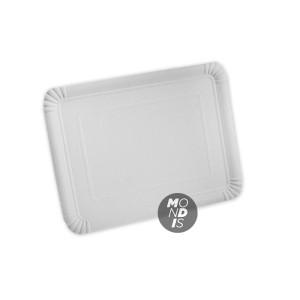Bandeja cartón de 24 x 30 cm de color blanco especial para blondas rectangulares