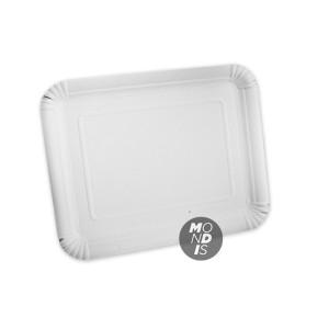 Bandeja cartón de 28 x 36 cm de color blanco especial para blondas rectangulares