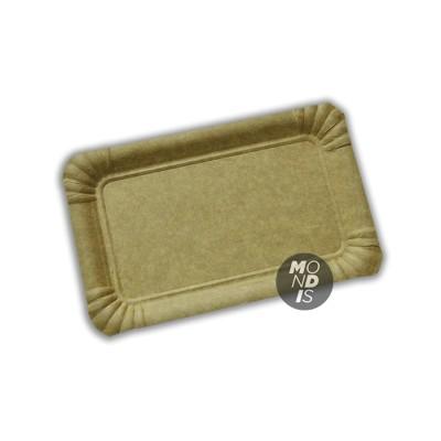 Bandeja cartón de 12x19 cm de color marrón kraft especial para blondas rectangulares