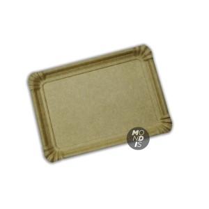 Bandeja cartón de 16x22 cm de color marrón kraft especial para blondas rectangulares