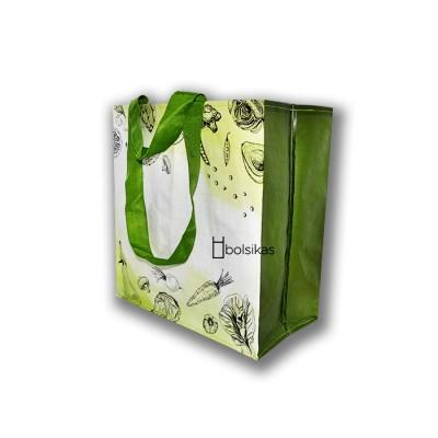 Bolsa con doble asa de rafia para las compras resistentes y reutilizable